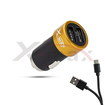 X-max  Fast Car Charger 2 USB - CC1715 Type-C  Cable included