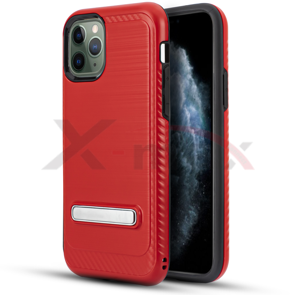 IPHONE 11 PRO - BRUSH LINE METAL STAND - RED