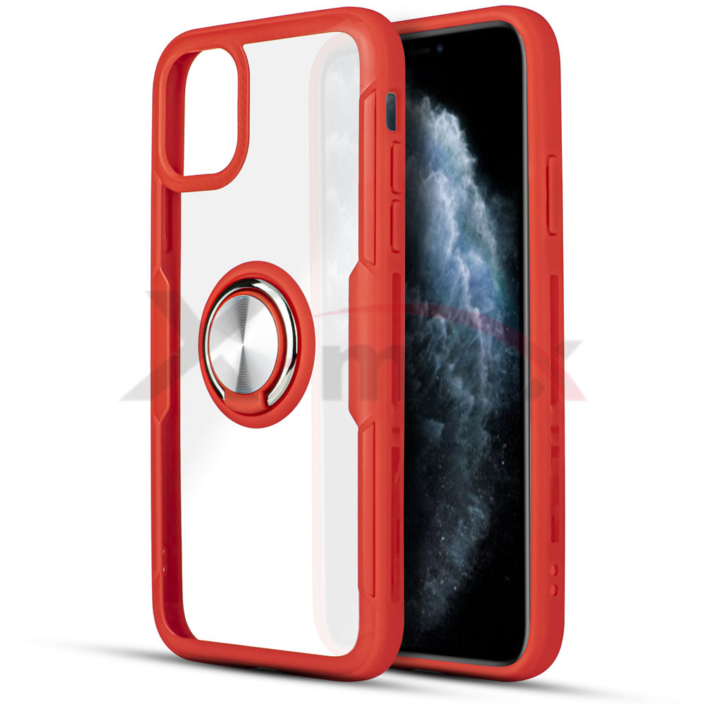 IPHONE 11 PRO - CLEAR 360 RING - RED