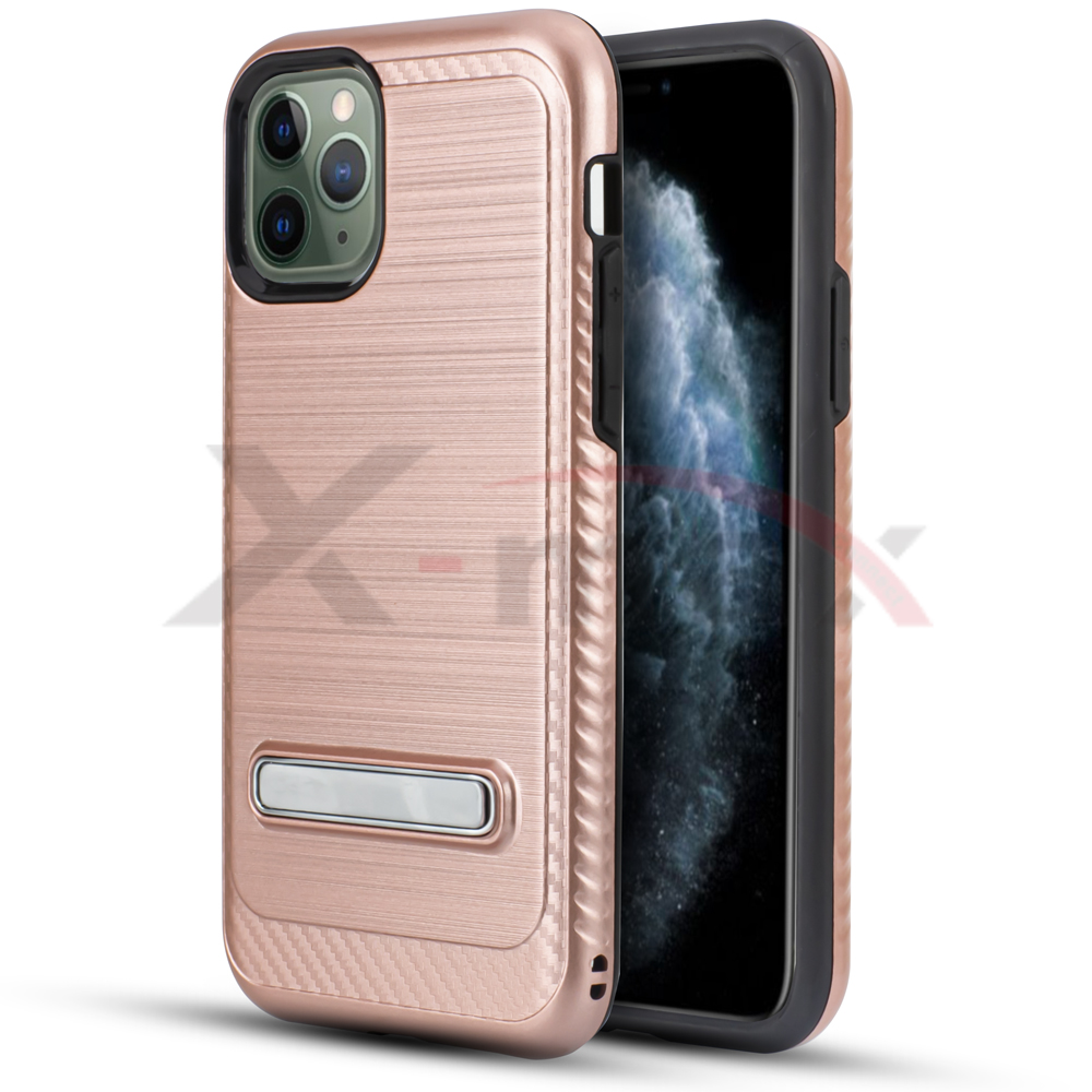IPHONE 11 - BRUSH LINE METAL STAND - ROSE GOLD