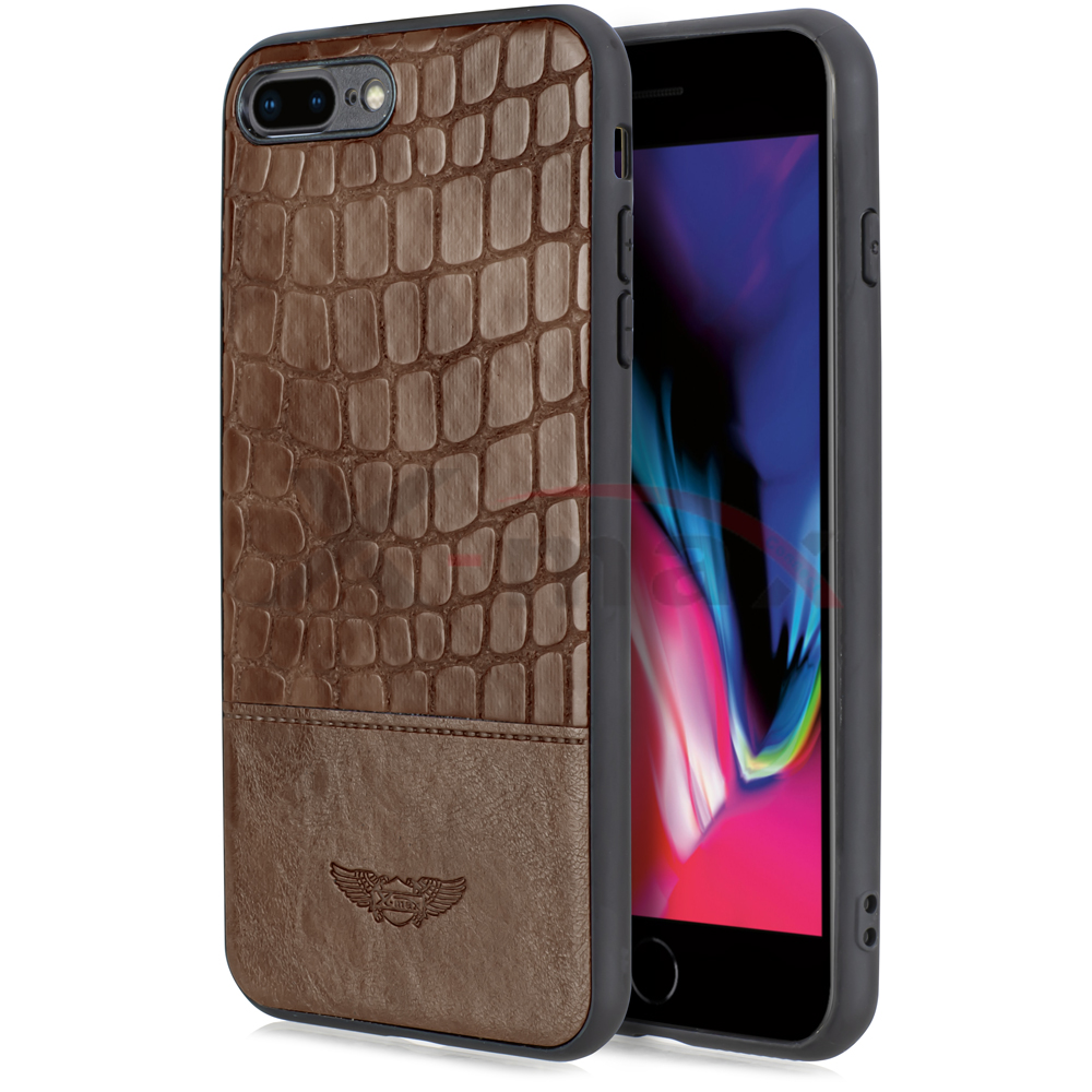 IPHONE 7/8 PLUS -  SNAKE LEATHER CASE - BROWN