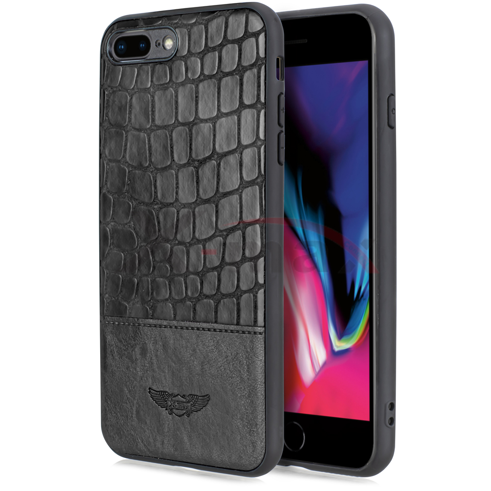 IPHONE 7/8 -  SNAKE LEATHER CASE - BLACK