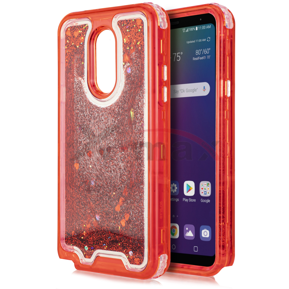 K40  - CLEAR GLITTER MOTION - RED