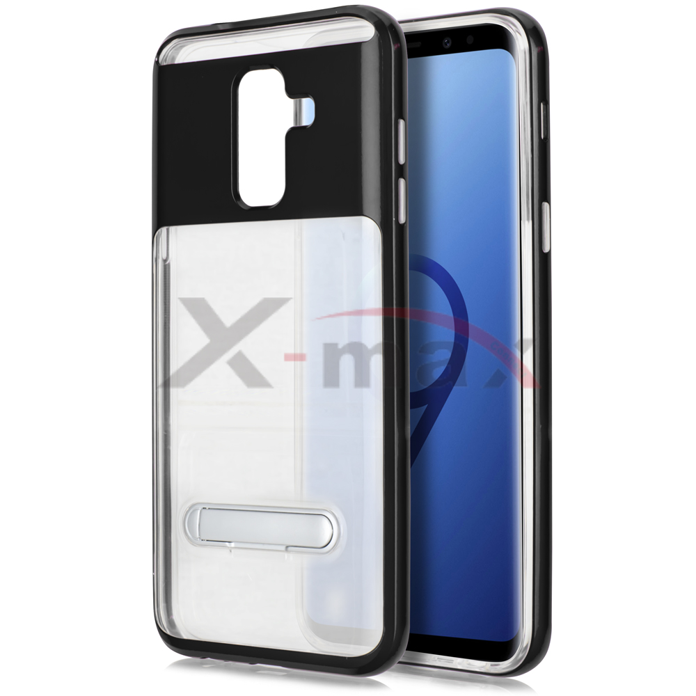 S9 PLUS - CLEAR TPU STAND - BLACK