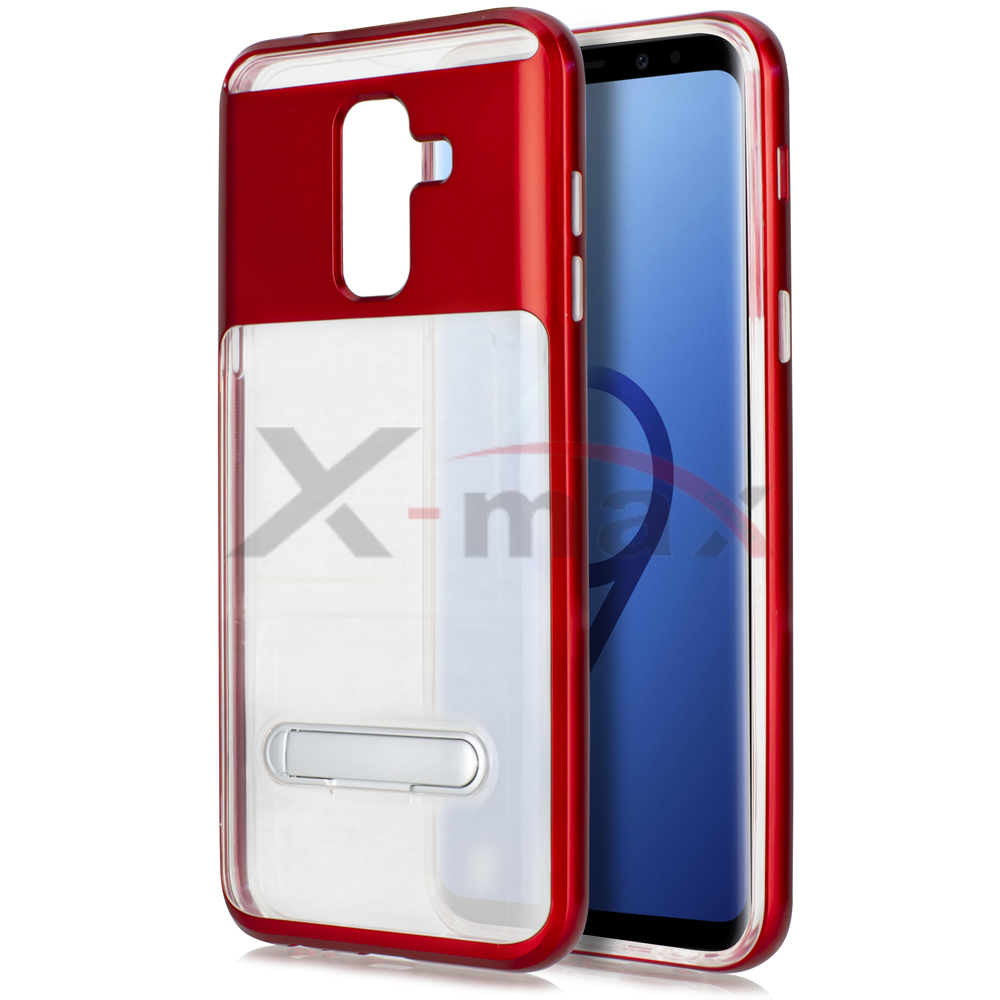 S9 PLUS - CLEAR TPU STAND - RED
