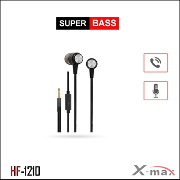 SUPER BASS STEREO EARPHONES WITH MIC X-HF1210 - Black