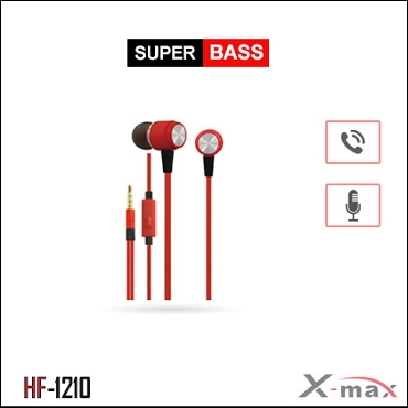 SUPER BASS STEREO EARPHONES WITH MIC X-HF1210 - Red