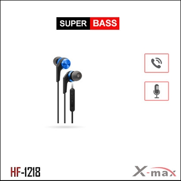 SUPER BASS STEREO EARPHONES WITH MIC X-HF1218 - Blue