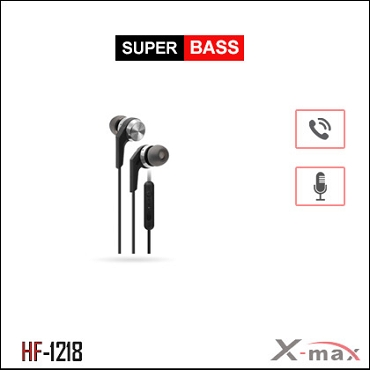 SUPER BASS STEREO EARPHONES WITH MIC X-HF1218 - Silver
