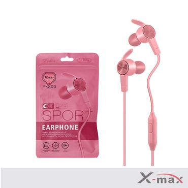 SUPER BASS MAGNETIC SPORT EARPHONES WITH MIC  YK-800 - PINK
