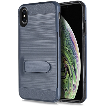 IPHONE X / XS - BRUSHED LINE STAND - NAVY BLUE