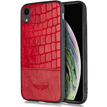 IPHONE X / XS - LEATHER SNAKE CASE - RED