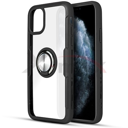 IPHONE 11 PRO MAX - CLEAR 360 RING - BLACK