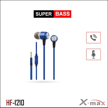 SUPER BASS STEREO EARPHONES WITH MIC X-HF1210 - Blue