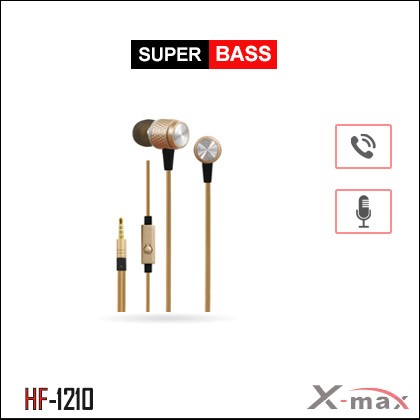SUPER BASS STEREO EARPHONES WITH MIC X-HF1210 - Gold