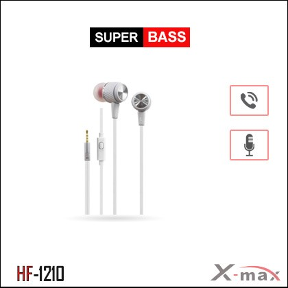 SUPER BASS STEREO EARPHONES WITH MIC X-HF1210 - White