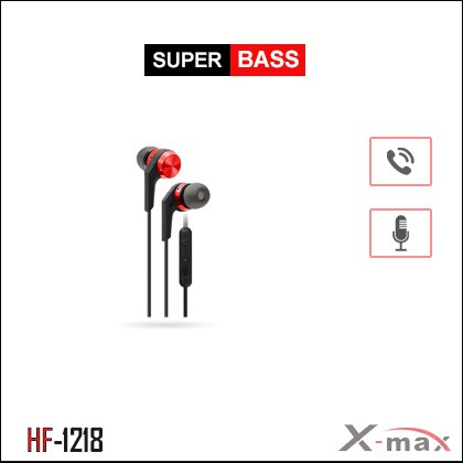 SUPER BASS STEREO EARPHONES WITH MIC X-HF1218 - Red