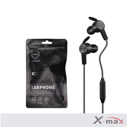 SUPER BASS MAGNETIC SPORT EARPHONES WITH MIC X-YK-800 - BLACK
